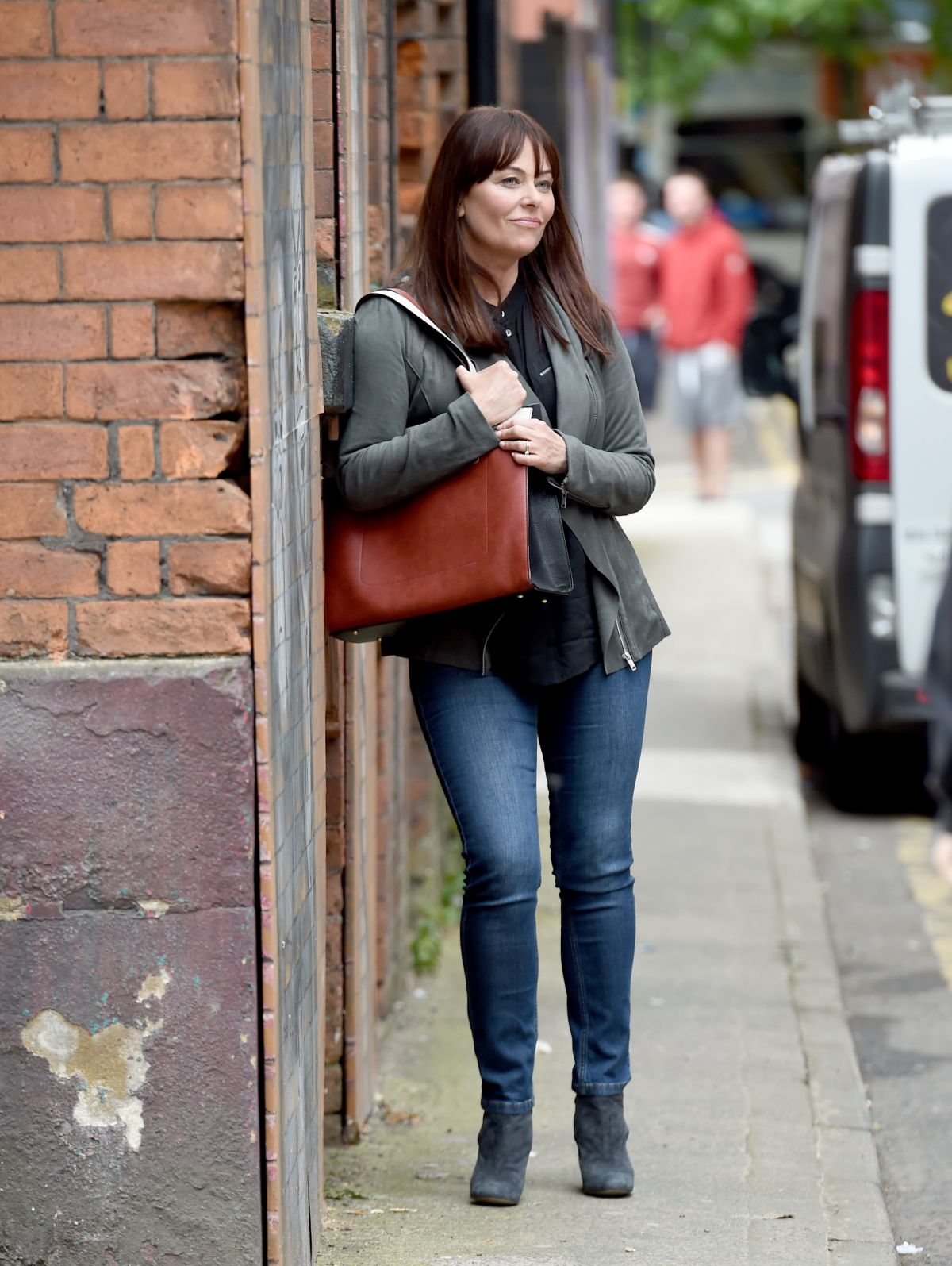Polly Walker At 'Age Before Beauty' TV show filming, Manchester, UK ...