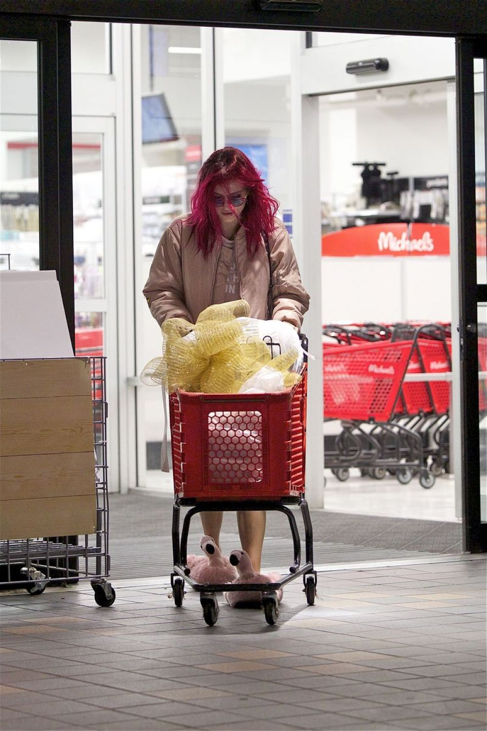 Bella Thorne In Pink Flamingo Slippers u2013 Shopping with Dani at Michael u2019s u2013 LA Celebzz ~ 01135542_Flamingo Gartendeko Oldenburg