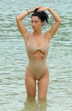 Cally Jane Beech In a sexy swimsuit on the beach in Ibiza