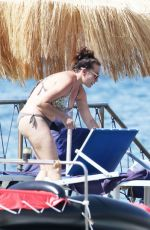Lily Collins In Swimsuit on the Beach - Ischia, Italy