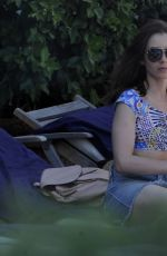 Lily Collins Spotted at a beach in Ischia, Italy