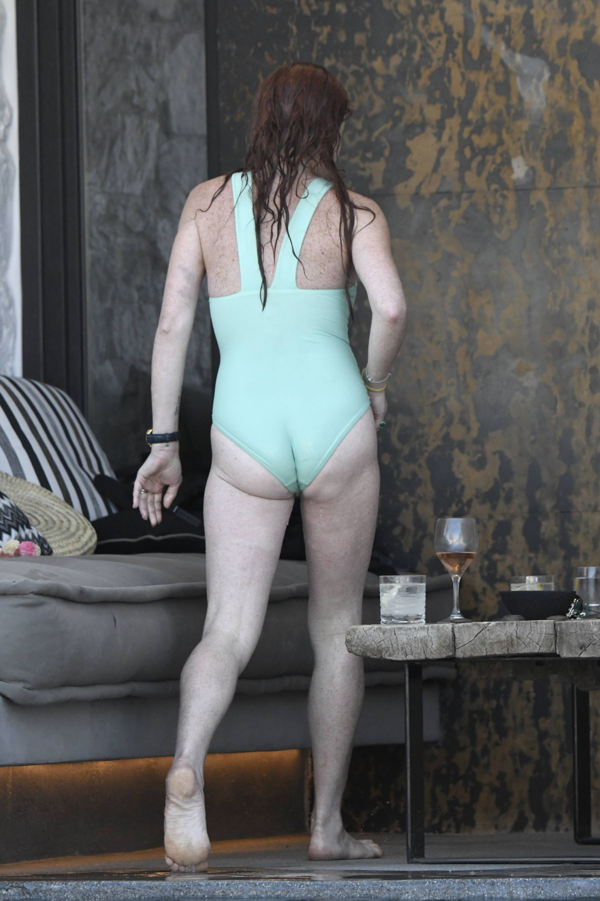 Lindsay Lohan Wearing a Swimsuit in Mykonos, Greece