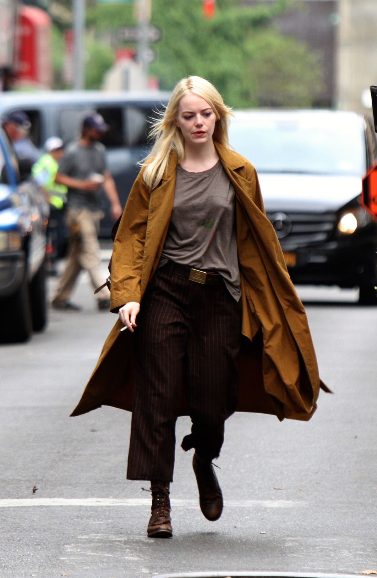 Watch Emma stone shooting scenes on the set of maniac in long island nyc video