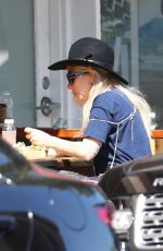 Lady Gaga Enjoys lunch outside at Kreation juice in Beverly Hills, Los Angeles