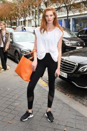 Alexina Graham Seen outside to her hotel in Paris during Fashion Week