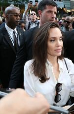 Angelina Jolie Signs autographs as she arrives for her appearance at TIFF in Toronto, Canada