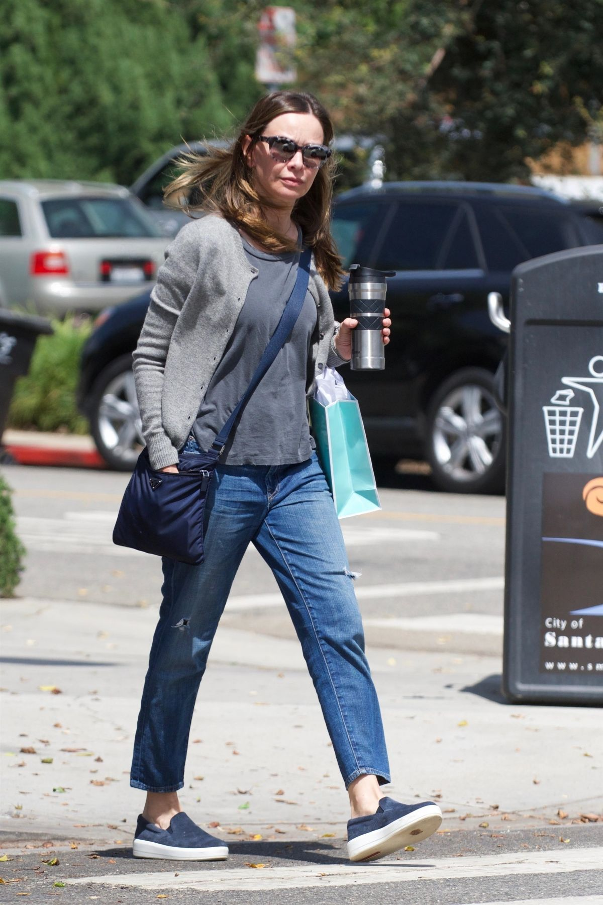Calista Flockhart Gets some shopping done in Santa Monica