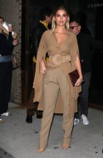 Camila Morrone Stops to show off her beige ensemble while out and about during New York Fashion Week