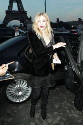Courtney Love At Saint Laurent show, Spring Summer 2018, Paris Fashion Week, France