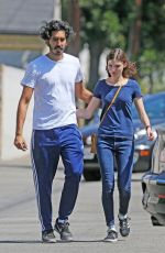 Dev Patel and girlfriend Tilda Cobham-Hervey walk arm in arm as they step out of lunch in West Hollywood