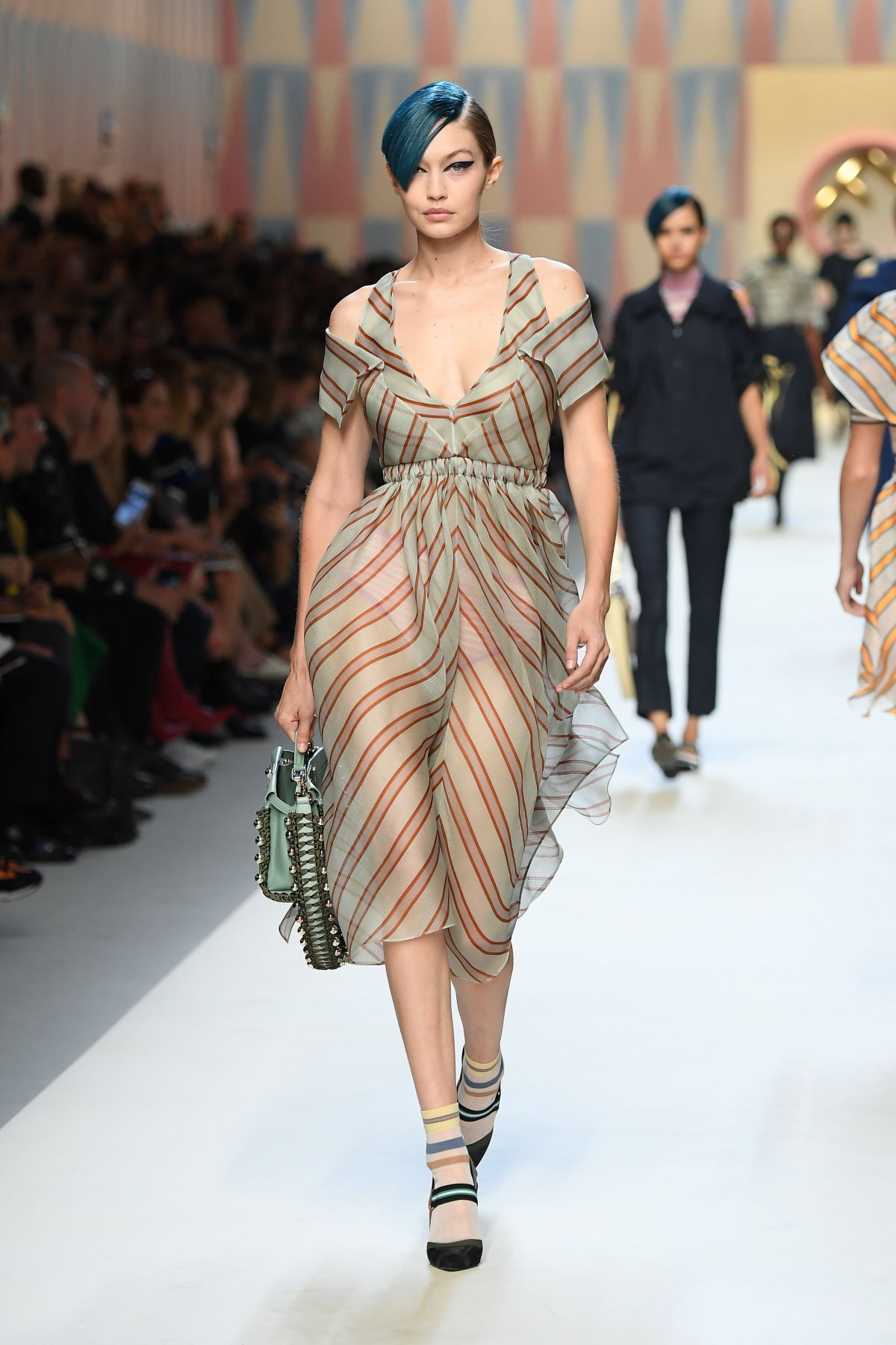 gigi hadid runway at fendi fashion show during milan