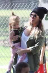 Haylie Duff Takes her daughter Ryan out for a day at the park in Los Angeles