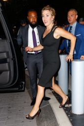Kate Winslet Wears a little black dress when arriving at Times Talk in New York