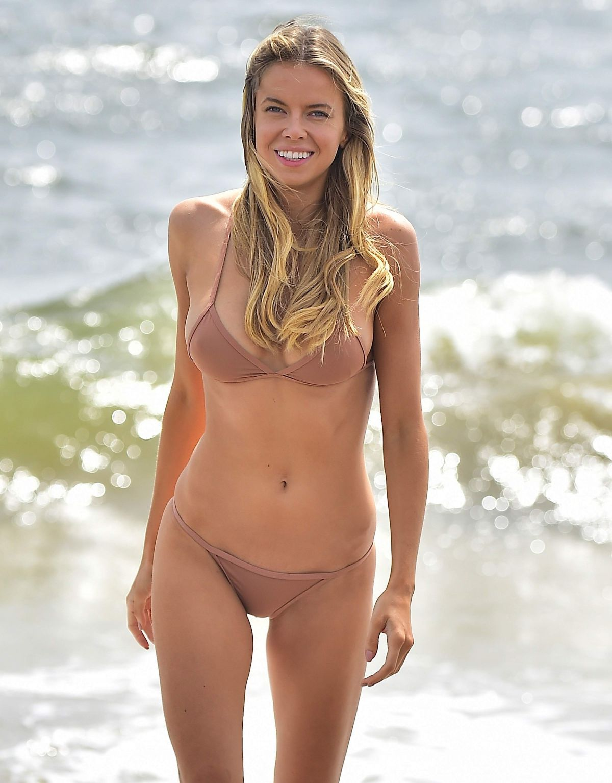 Louisa Warwick On the Beach During a Photoshoot in The Hamptons