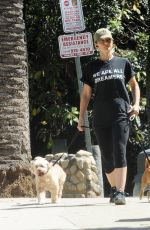 Minka Kelly Takes her dogs to the dog park in Hollywood