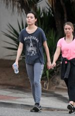 Miranda Cosgrove Steps out make up free with a friend in Los Angeles