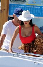 Nicole Scherzinger In Red Swimsuit Getting on a Boat in Ibiza