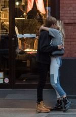 Presley Gerber Seen giving a goodbye kiss to his girlfriend Cayley King after dinner in Soho, New York