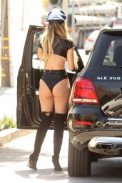 Ana Braga In sexy Hallloween Police costume while getting gas in Studio City