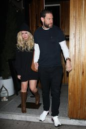 Avril Lavigne and her boyfriend hold hands as they leave the Nice Guy restaurant in West Hollywood