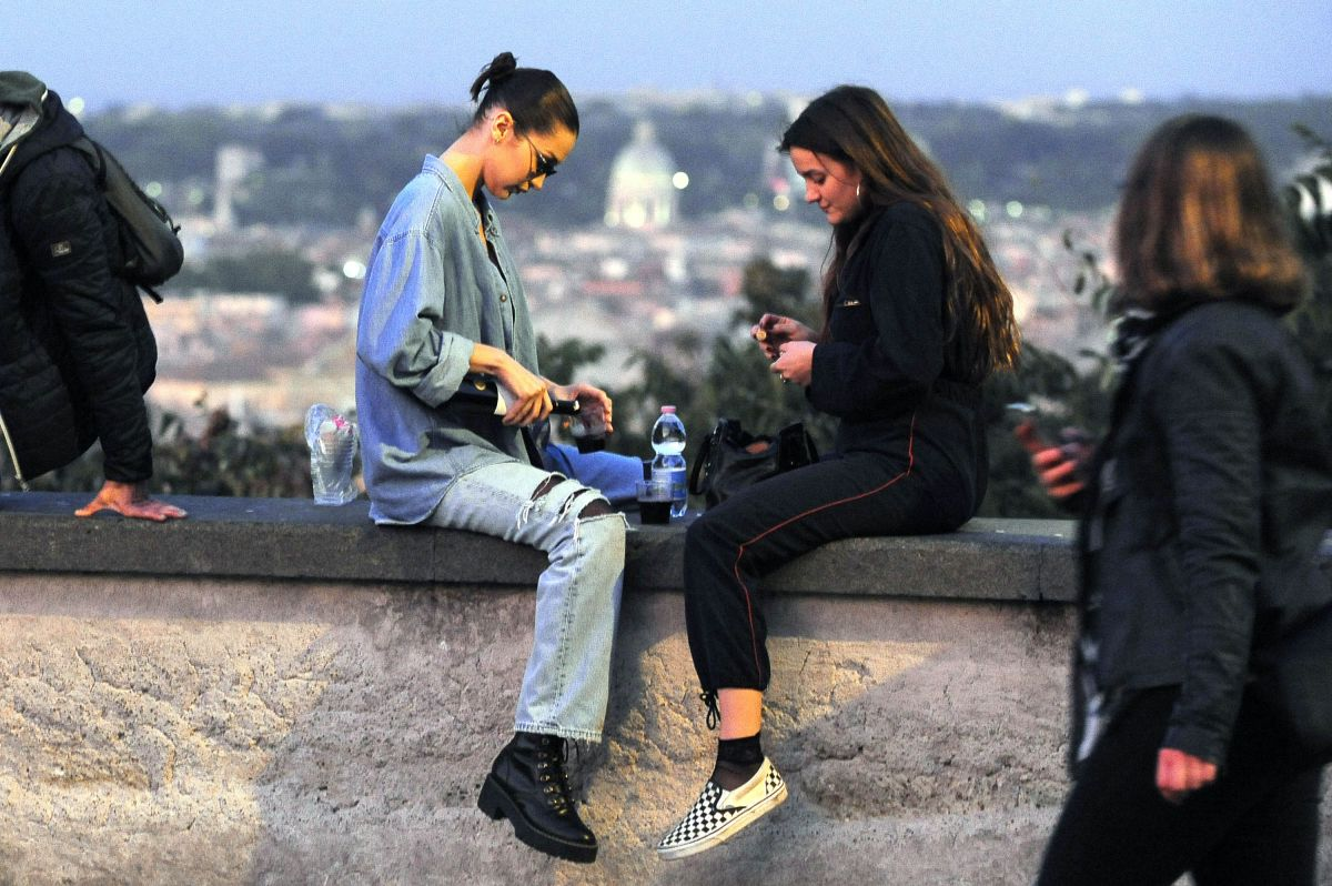 Bella Hadid Strolling out and about with a friend in Rome, Italy
