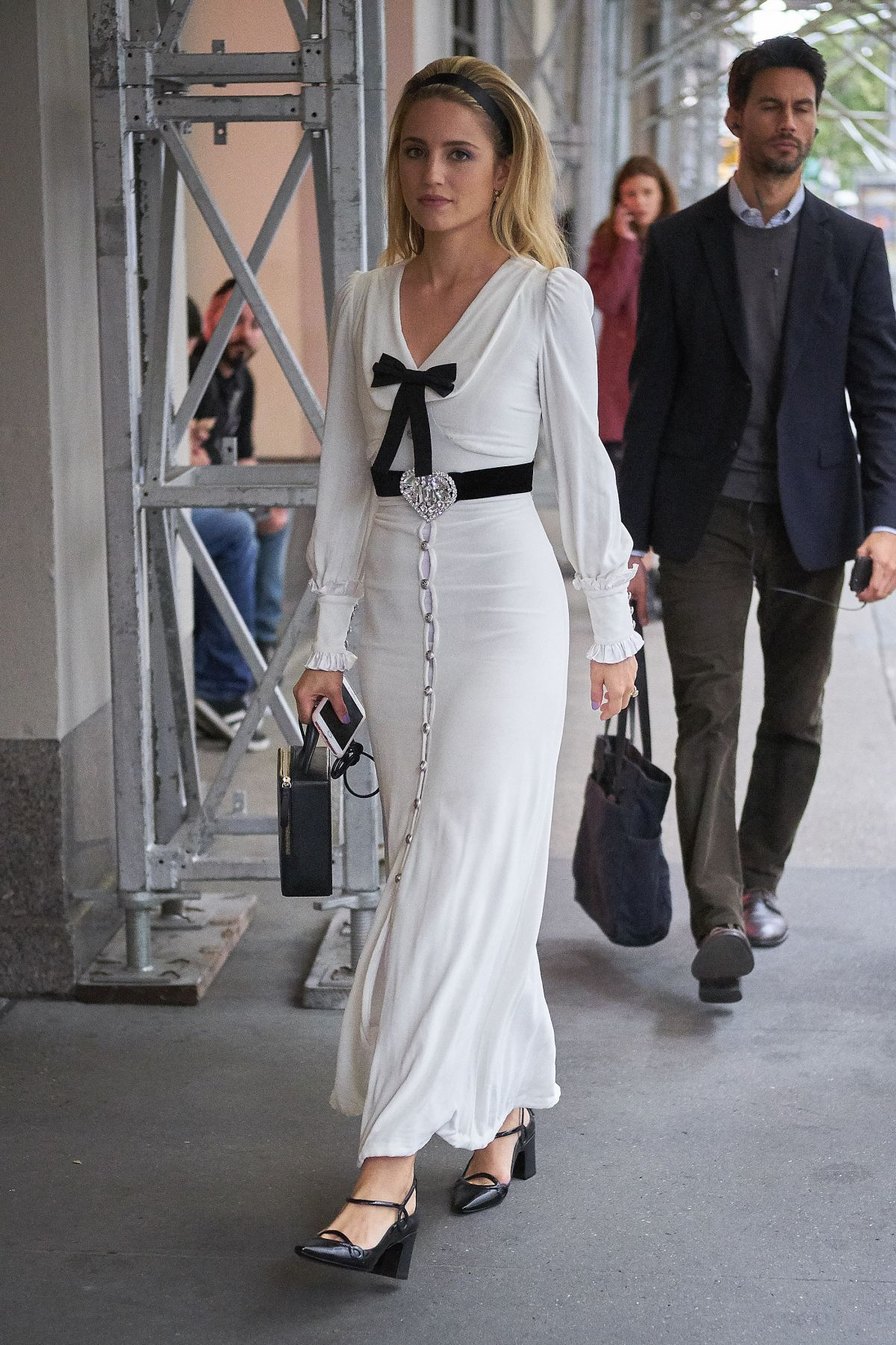 2d06db27dd5 Dianna Agron Seen wearing a white dress while out and .