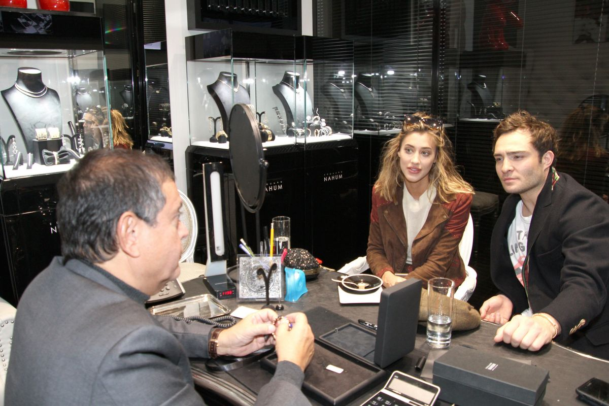 Ed Westwick and his girlfriend Jessica Serfaty visit the jeweler Edouard Nahum in Paris, France