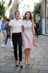 Elisabetta Pellini and Eliana Miglio Go shopping on Spiga Street and stroll the downtown streets of Milan