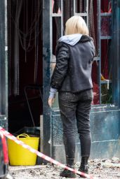 Emily Berrington On the film set of the latest TV series of 'Humans' in London