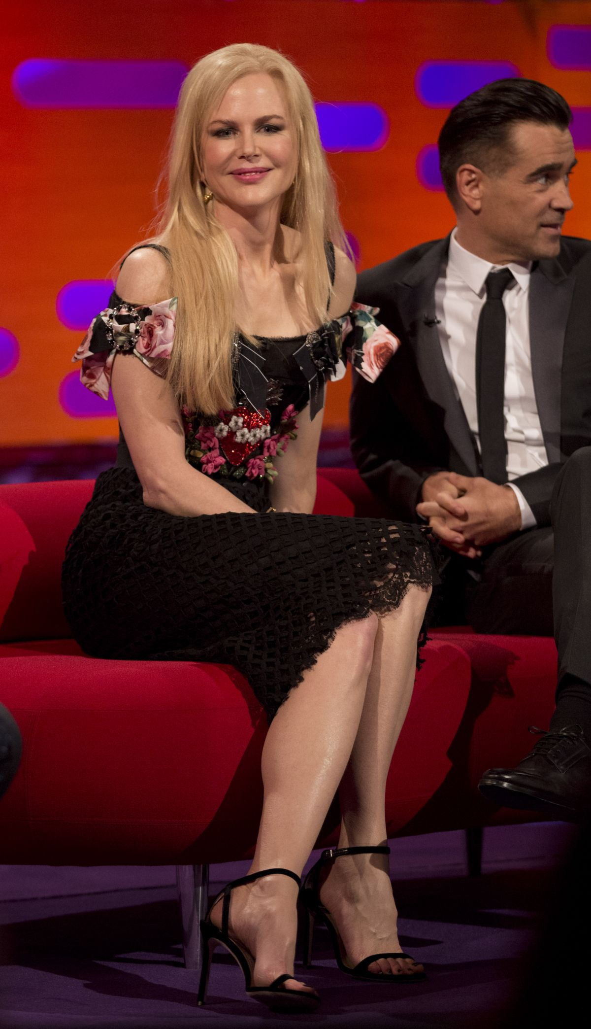 Jane Fonda, Nicole Kidman, Colin Farrell, Bryan Cranston, Matt Lucas and Niall Horan during filming of the Graham Norton Show