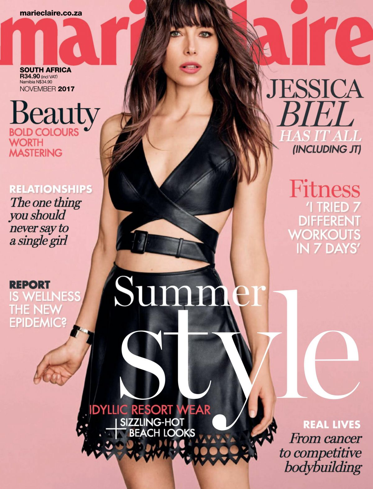 jessica biel marie claire south africa edition nov 2017 celebzz celebzz. Black Bedroom Furniture Sets. Home Design Ideas