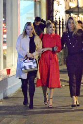 Joanne Froggatt Was seen enjoying a night out with friends before getting into the back of a cab in Soho, London, UK