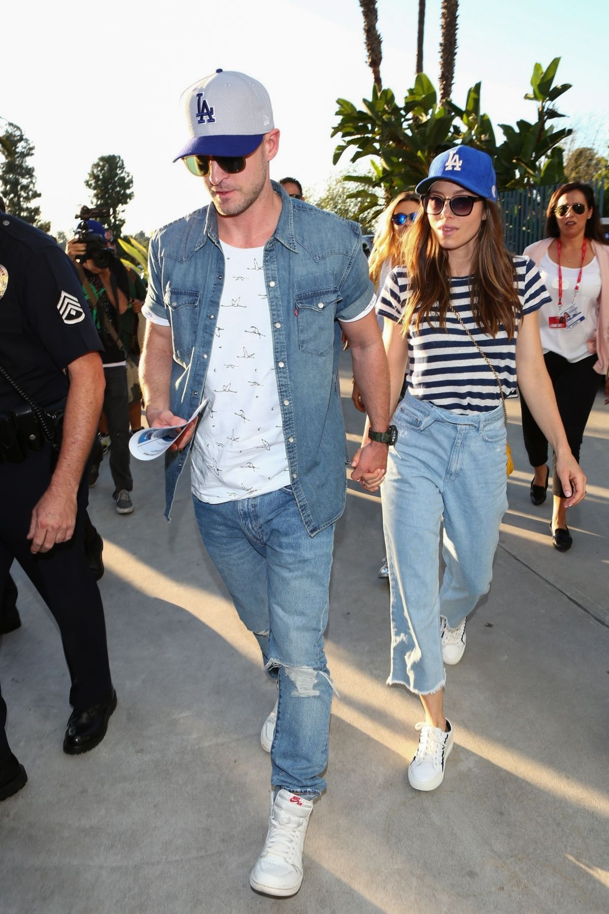 Justin Timberlake & Jessica Biel Arrive for Astros vs. Dodgers World Series Game 2 at Dodgers Stadium in Los Angeles