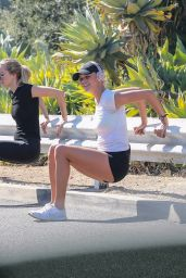 Kelly Rohrbach Does a gruesome work out in short athletic shorts in Santa Monica