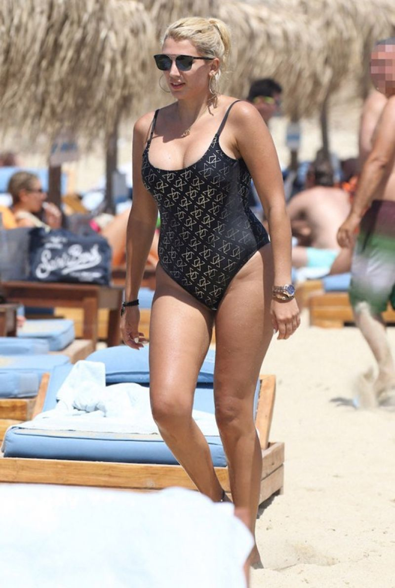Konstantina Spyropoulou In black swimsuit at the beach in Mykonos, Greece