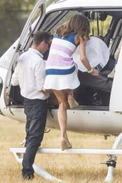 Kyly Clarke and Erin Holland hitch a chopper ride from Sydney Airport
