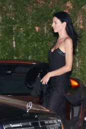 Liberty Ross Shows off her toned arms in a black dress at Soho House in Malibu