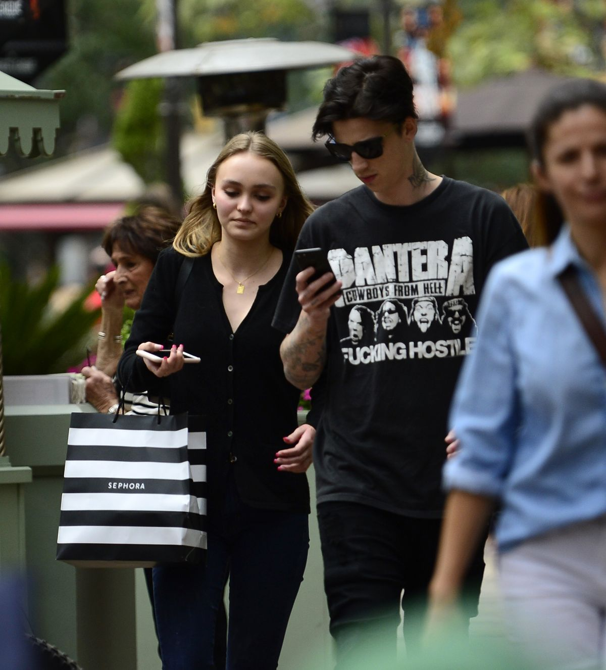 Lily-Rose Depp Shops at The Grove and pick up groceries at Bristol Farms in LA