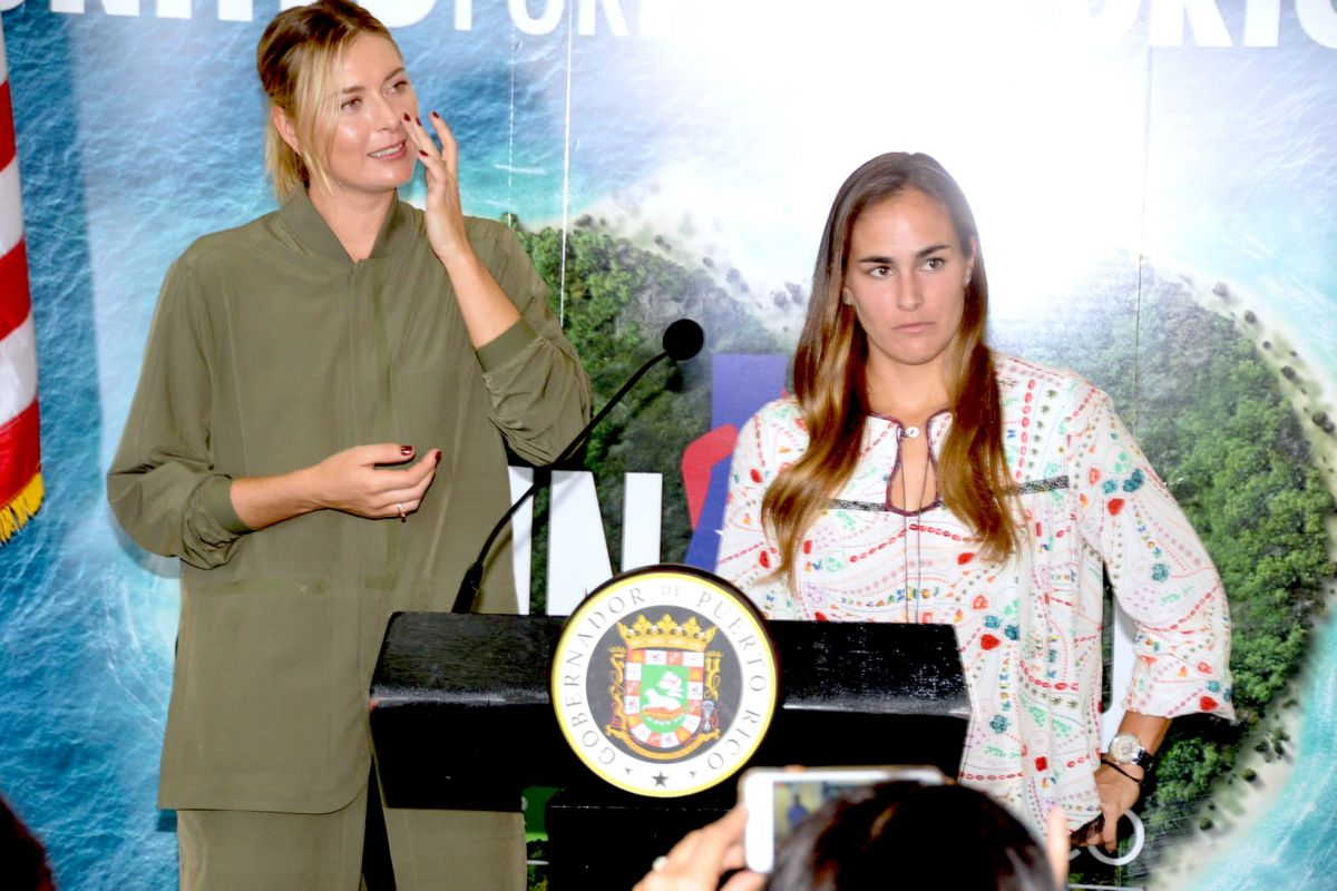 Maria Sharapova At a press conference as they bring aid for Hurricane Maria relief at Luis Munoz Marin International Airport
