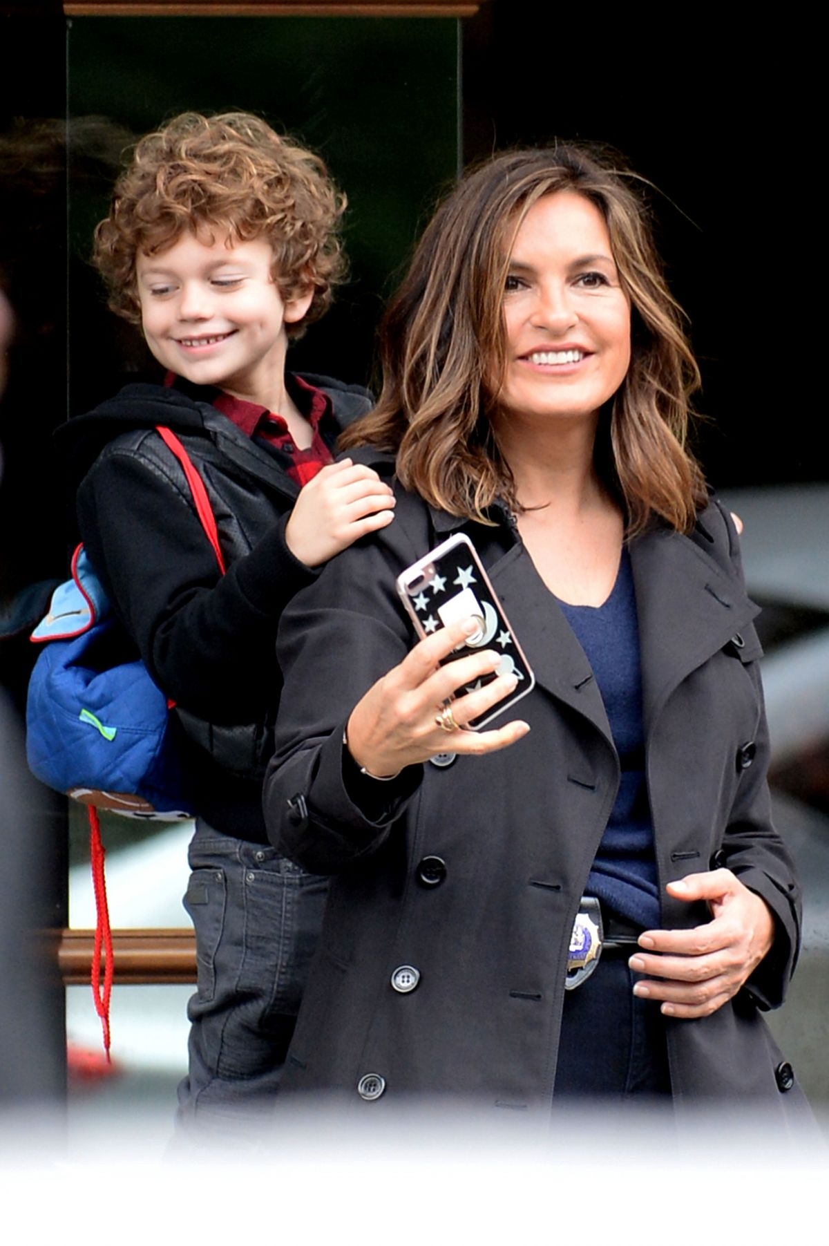 "Mariska Hargitay Taking selfies on the set of ""Law & Order: Special Victims Unit"" in New York City"