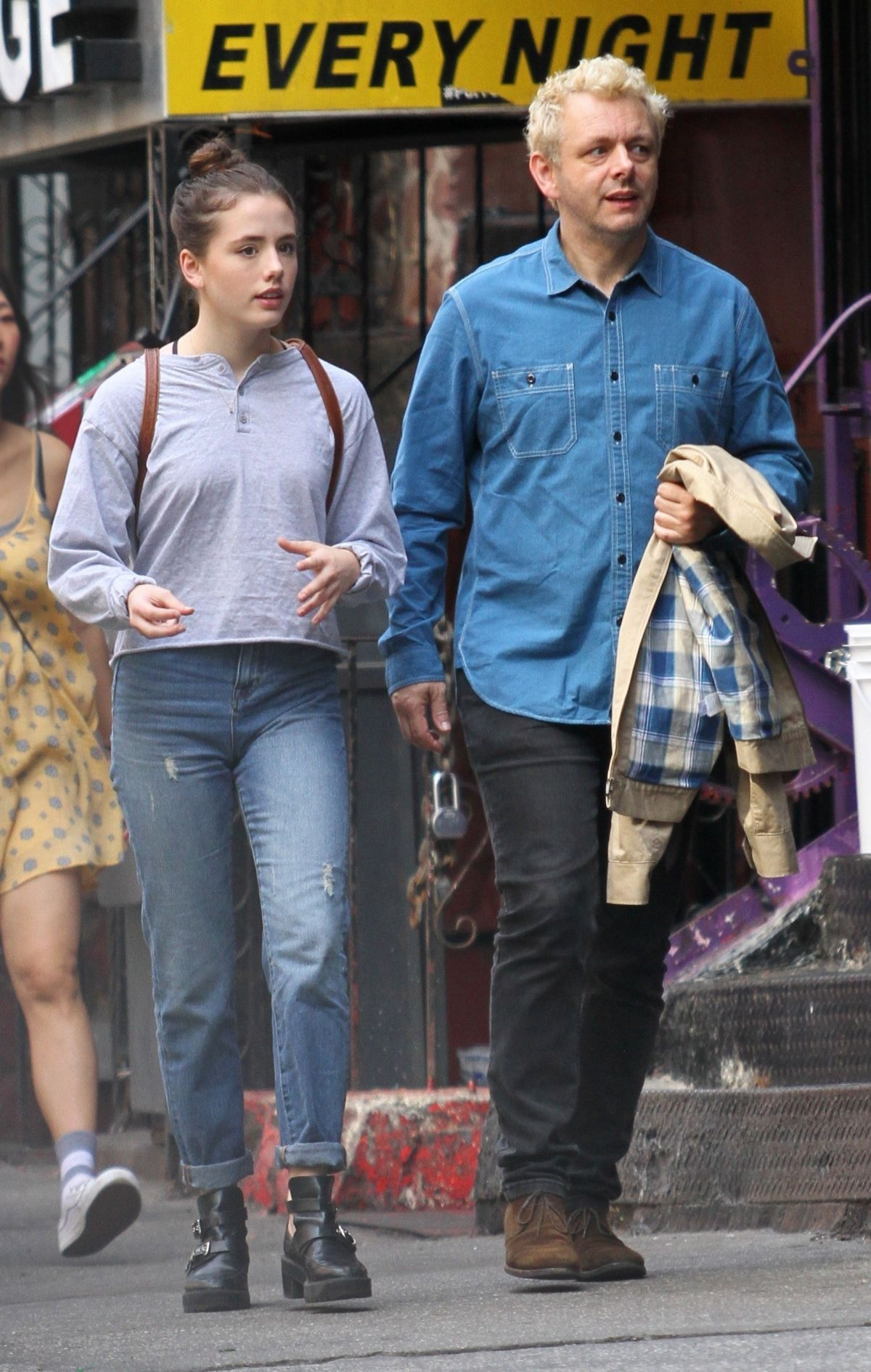 Michael Sheen And Daughter Lily Mo Sheen Sit A Park Bench