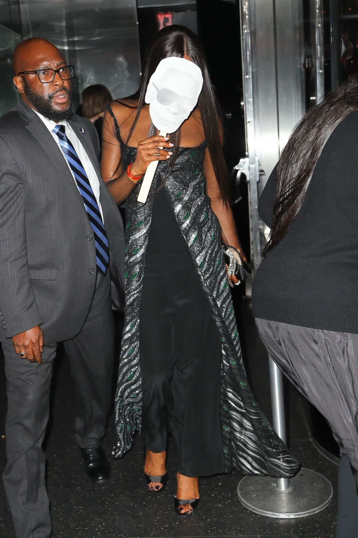 Naomi Campbell Seen leaving the V Magazine dinner in honor of Karl Lagerfeld in New York