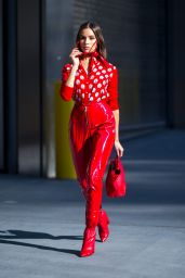 Olivia Culpo Ravishing in red wearing MSGM with a Tods handbag while out in NYC