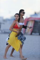 Olivia Culpo & Shanina Shaik On the set of a photoshoot on Miami Beach