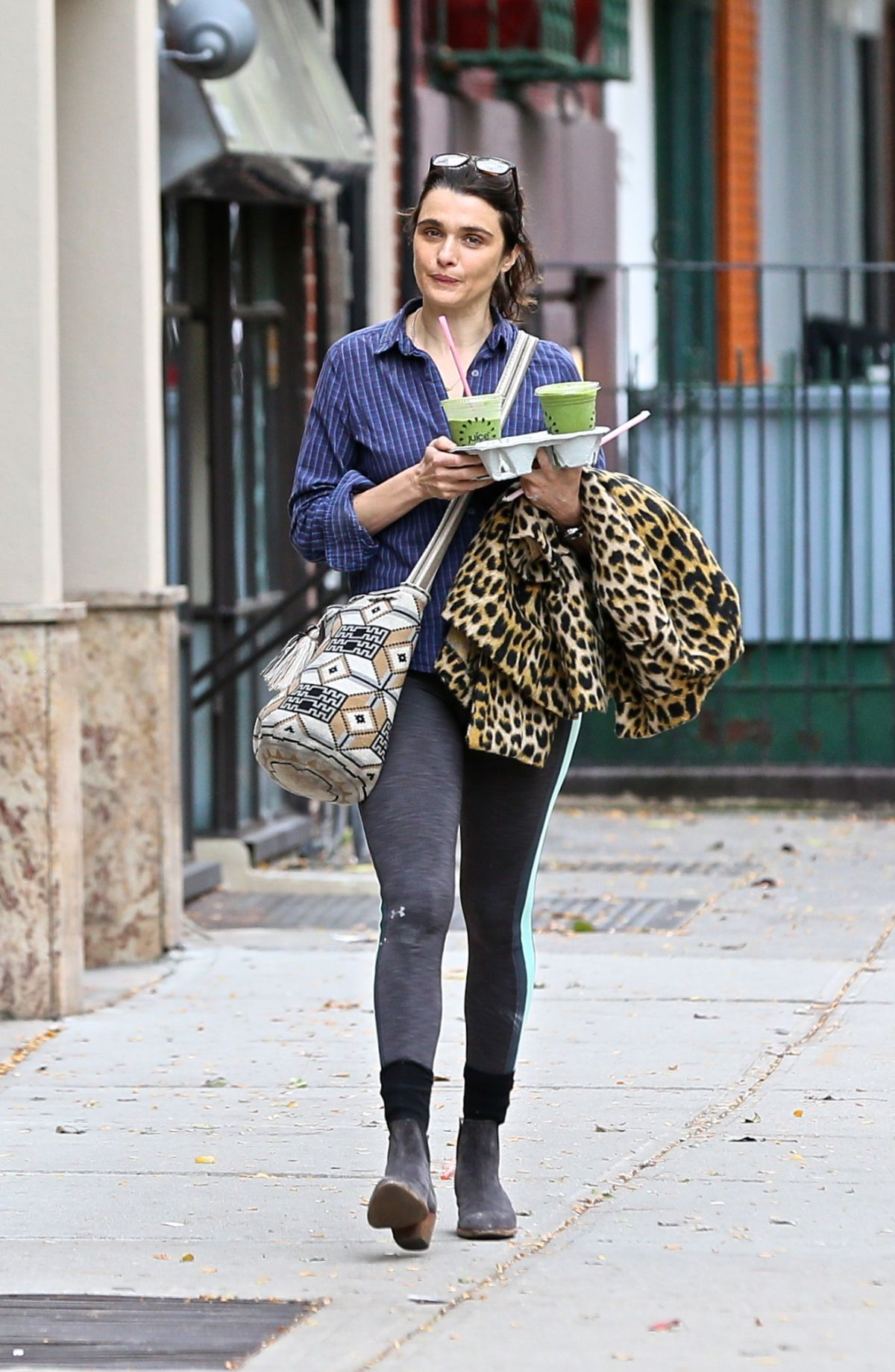 Rachel Weisz Steps out makeup free in the East Village in NYC
