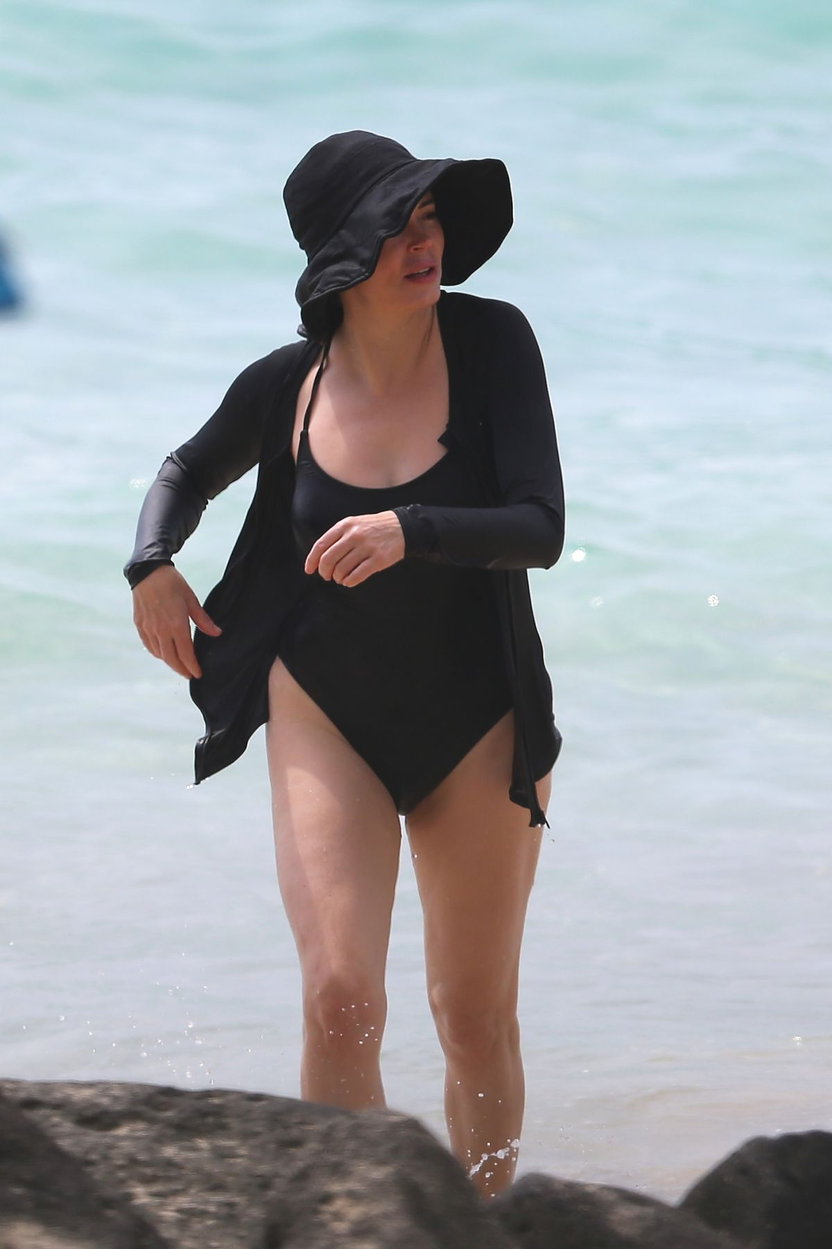 Rose McGowan Wearing a Swimsuit at a Beach in Hawaii