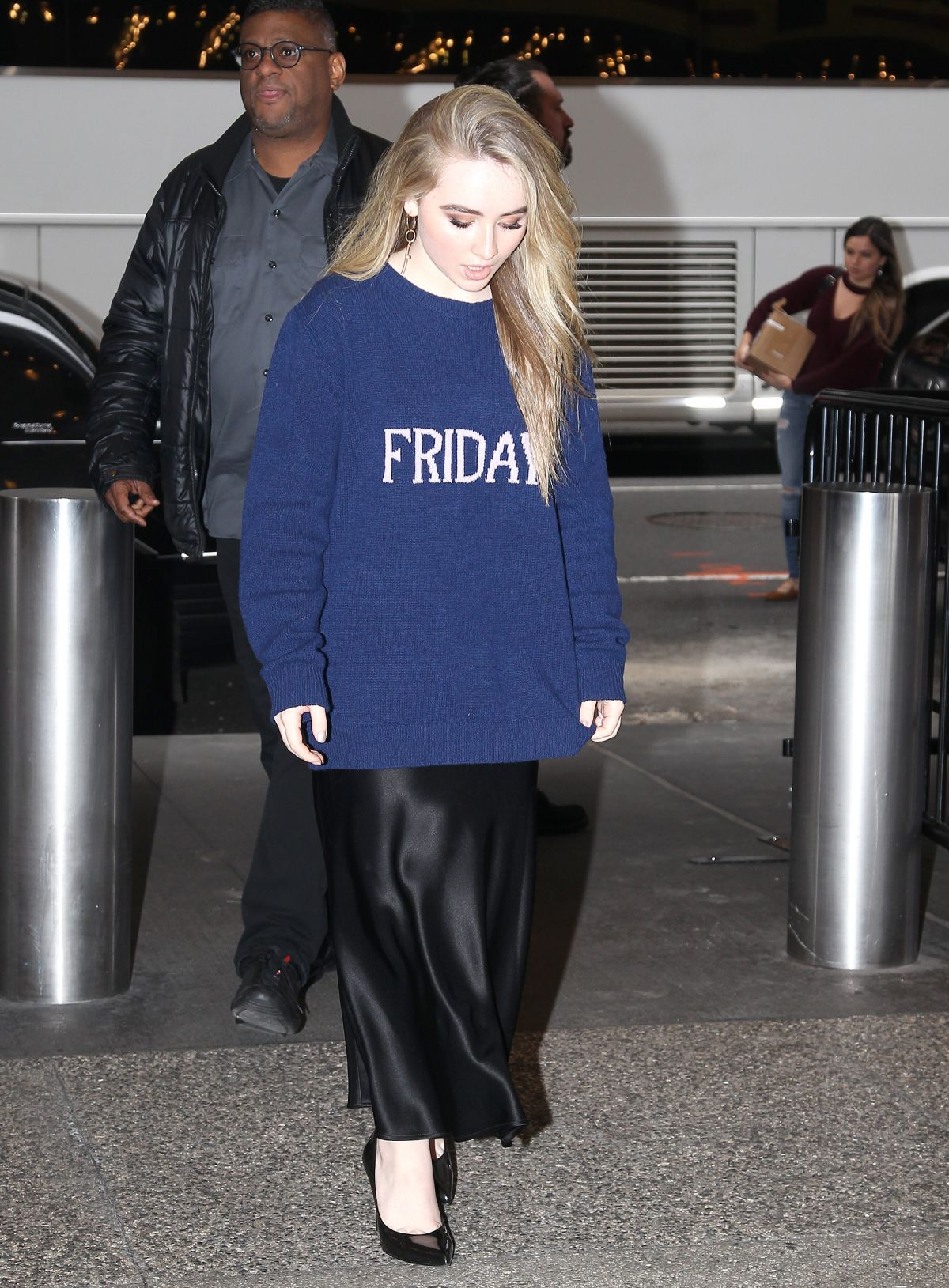 Sabrina Carpenter Arrives to TRL in Time Square in NYC