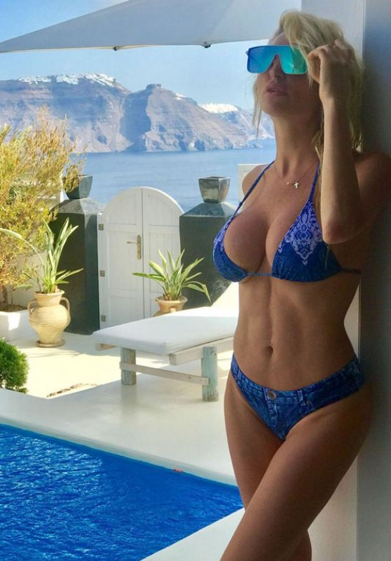 Victoria Xipolitakis in Blue Bikini at the pool in Santorini Pic 1 of 35