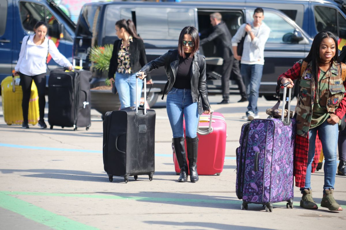 Becky G Seen arriving in Barcelona for a gig