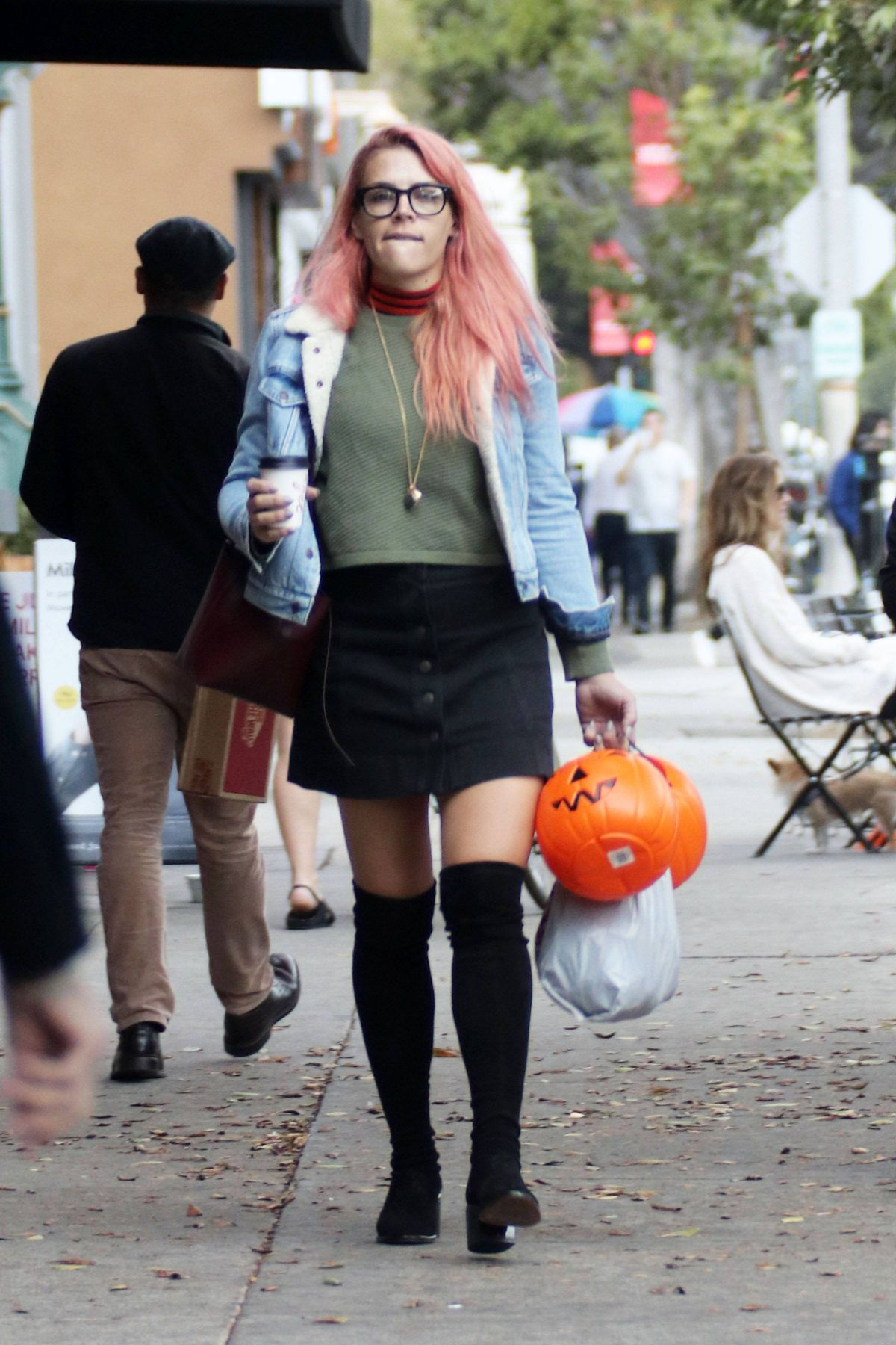 Busy Philipps Buys Halloween trick or treat buckets from CVS in Los Angeles